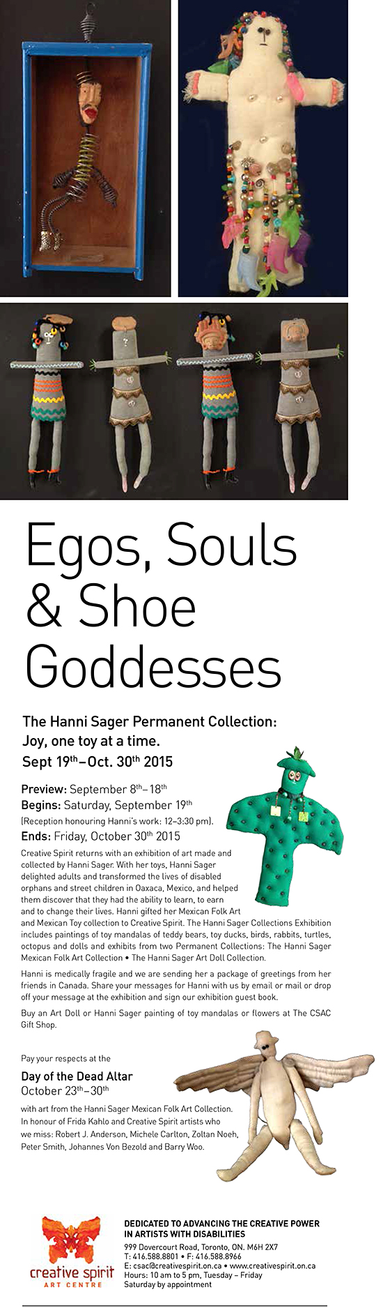 Hanni Sager Permanent Collection Event - Preview Sep.8th to 18th, Reception: Saturday September 19th 12 to 3:30 pm, Ends October 30th, 2015.