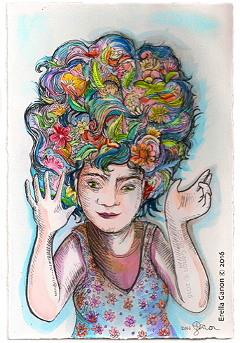 Colourful water colour illustration of Erella Ganon with a high hairdo with flowers, feathers, leaves in her colourful hair
