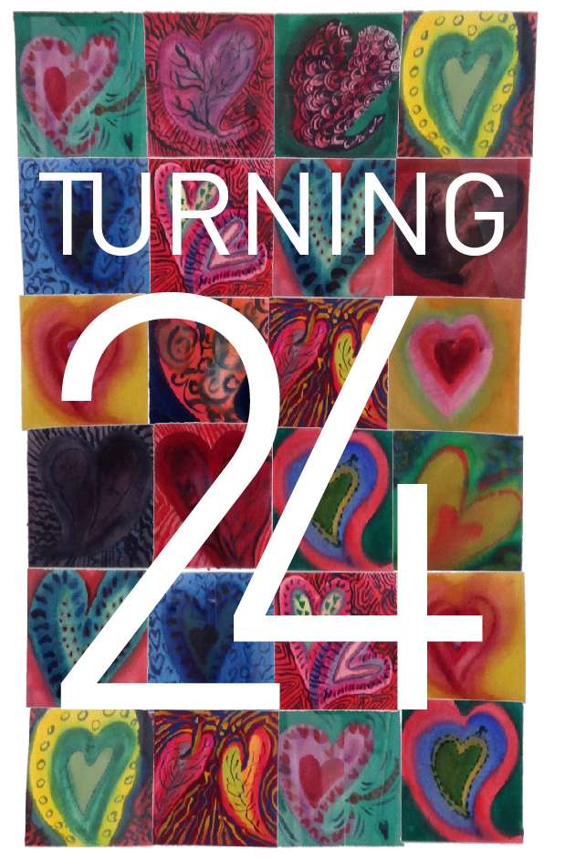all kinds of hearts painted in all kinds of ways and colours in a checker board style with large words in white ontop saying TURNING 24