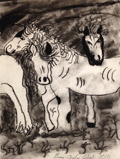 black and white, charcoal drawing with loose lines, group of horses